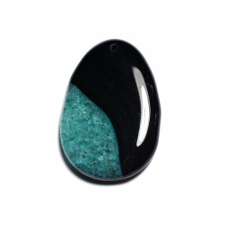 N17 - Pendentif en Pierre - Agate noire et Quartz bleu vert turquoise Goutte 55mm - 8741140001404