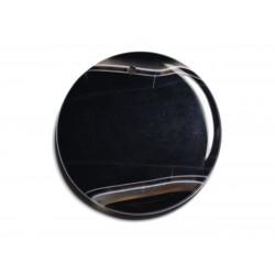 N8 - Pendentif Pierre semi précieuse - Agate noire et blanche rond 47mm - 8741140001398