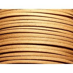 5 mètres - Cordon Lanière Suédine 3x1.5mm Beige Caramel 4558550004758
