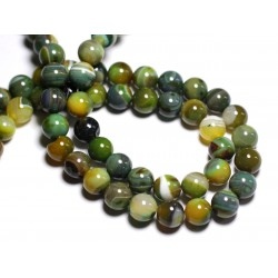 5pc - Perles de Pierre - Agate Boules 10mm Vert et Jaune - 8741140000209