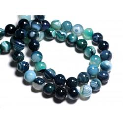 5pc - Perles de Pierre - Agate Boules 10mm Bleu vert - 8741140000216
