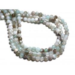 20pc - Perles de Pierre - Agate Boules facettées 4mm blanc gris turquoise - 8741140000230