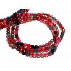 20pc - Perles de Pierre - Agate Boules facettées 4mm Multicolore - 8741140000247