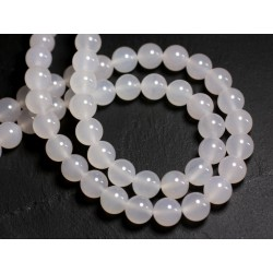20pc - Perles de Pierre - Agate blanche Boules 6mm - 8741140000261