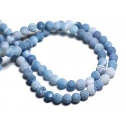 20pc - Perles de Pierre - Agate Bleu turquoise Mat Boules 6mm - 8741140000346