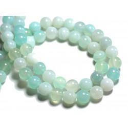 10pc - Perles de Pierre - Agate Bleu turquoise Boules 8mm - 8741140000360