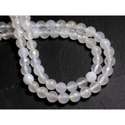 10pc - Perles de Pierre - Agate blanche Boules Facettées 8mm - 8741140000322