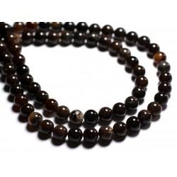 10pc - Perles de Pierre - Bois Fossile noir Boules 8mm - 8741140000643