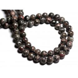 6pc - Perles de Pierre - Jaspe Océan Fossile noire Boules 10mm - 8741140000742