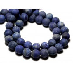4pc - Perles de Pierre - Lapis Lazuli Mat givré Boules 10mm - 8741140000797