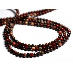 20pc - Perles de Pierre - Oeil de Fer rouge Boules 4mm - 8741140000834