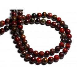 10pc - Perles de Pierre - Oeil de Fer rouge Boules 8mm - 8741140000841