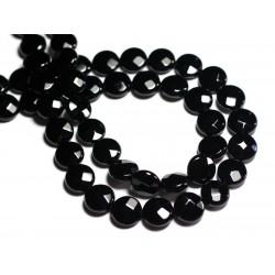 4pc - Perles de Pierre - Onyx Noir Palets Facettés 12mm - 8741140000858