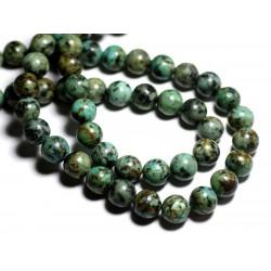 2pc - Perles de Pierre - Turquoise Afrique Boules 12mm - 8741140000940