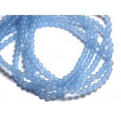 40pc - Perles de Pierre - Jade Boules 4mm Bleu clair - 4558550017291