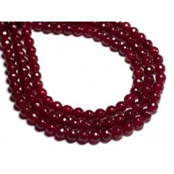 20pc - Perles de Pierre - Jade Boules Facettées 6mm Rose Framboise - 8741140000971