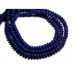 30pc - Perles de Pierre - Jade Rondelles 5x3mm Bleu nuit mat givré - 8741140001015