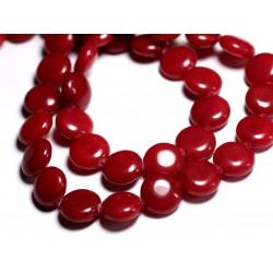 4pc - Perles de Pierre - Jade Rouge Palets 14mm - 8741140001046
