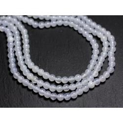 30pc - Perles de Pierre - Jade Boules 4mm Blanc gris Mauve - 8741140001077