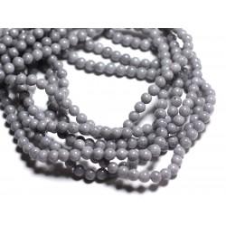 30pc - Perles de Pierre - Jade Boules 4mm Gris - 8741140001060