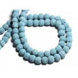 10pc - Perles de Pierre - Lave Boules 10mm Bleu Turquoise - 8741140001169