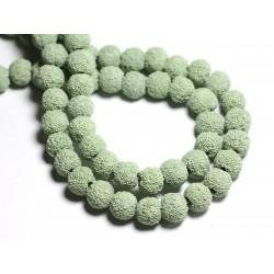 10pc - Perles de Pierre - Lave Boules 10mm Vert Turquoise Menthe - 8741140001190