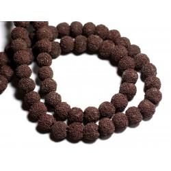 10pc - Perles de Pierre - Lave Boules 10mm Marron Chocolat - 8741140001206