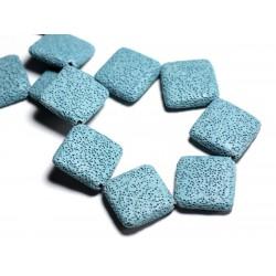 1pc - Perle de Pierre - Lave Grand Losange 32mm Bleu Turquoise - 8741140001237