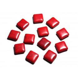 10pc - Perles de Pierre Turquoise synthèse - Losanges 18x14mm Rouge - 4558550087959