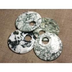 1pc - Pendentif Pierre semi précieuse - Agate Arbre Donut 50mm 4558550005830