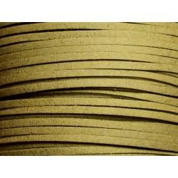 5 mètres - Cordon Lanière Suédine 3x1.5mm Beige Kaki clair 4558550016430