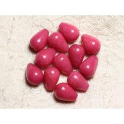 4pc - Perles de Pierre - Jade Gouttes 14x10mm Rose Corail Pêche - 4558550082664