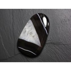 Pendentif en Pierre - Agate et Quartz Noir et Blanc Goutte 63mm N25 - 4558550085733