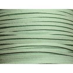 5 mètres - Cordon Lanière Suédine 3x1.5mm Vert Turquoise Menthe 4558550006967