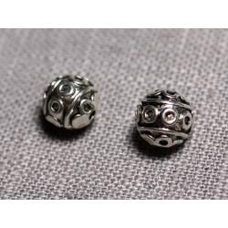 10pc - Perles Métal argenté Rondes 8mm ethnique - 4558550095145