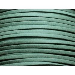 5 mètres - Cordon Lanière Suédine 3x1.5mm Bleu Vert Prasin 4558550002495