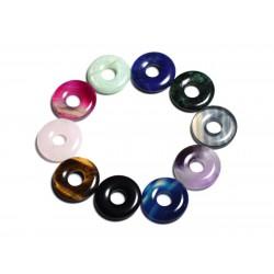 Lot 10pc - Pendentifs Pierres semi précieuses Donut Pi 20mm - 4558550095541