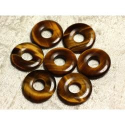 1pc - Pendentif Pierre semi précieuse - Oeil de Tigre Donut 20mm 4558550006318
