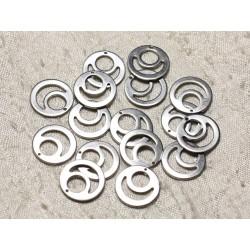 6pc - Breloques Pendentifs Acier Chirurgical 304L - Cercles 15mm 4558550004581