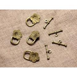 50pc - Fermoirs Toogle T Métal Bronze Qualité Fleurs 21mm 4558550002020