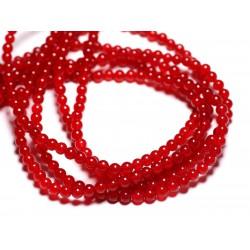 40pc - Perles de Pierre - Jade Boules 4mm Rouge vif - 4558550093059