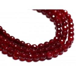 20pc - Perles de Pierre - Jade Boules Facettées 6mm Rouge Bordeaux 4558550022318