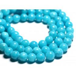 10pc - Perles de Pierre - Jade Boules 10mm Bleu Turquoise - 4558550093202