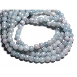 20pc - Perles de Pierre - Jade Boules 6mm Bleu clair Rose Pastel - 4558550093219
