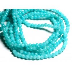 30pc - Perles de Pierre - Jade Boules 4mm Bleu Turquoise - 4558550013750