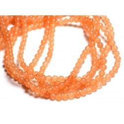 40pc - Perles de Pierre - Jade Boules 4mm Orange pastel - 4558550093073