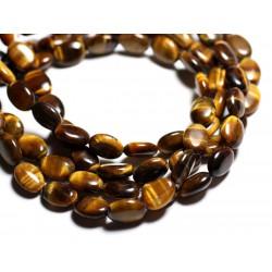 2pc - Perles de Pierre - Oeil de Tigre Ovales 14x10mm - 4558550015044
