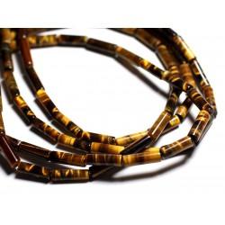 6pc - Perles de Pierre - Oeil de Tigre Tubes 13x4mm - 4558550092908
