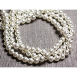 20pc - Perles Nacre teinte Boules 6mm Blanc C13 - 4558550092878