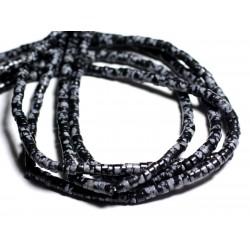 30pc - Perles de Pierre - Obsidienne Flocon Mouchetée Rondelles Heishi 4x2mm - 4558550092885